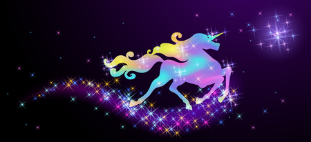 Starlit sky and galloping iridescent unicorn with luxurious winding mane against the background of the fantasy universe with sparkling stars