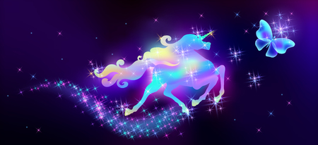 Flying butterfly and galloping iridescent unicorn with luxurious winding mane against the background of the fantasy universe with sparkling stars  イラスト・ベクター素材