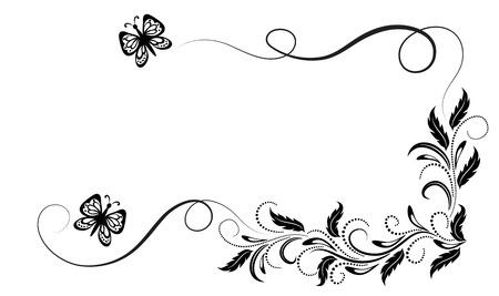 Adorno floral de esquina vintage con mariposa voladora para tarjeta de felicitación, invitación o texto de saludo