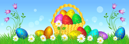 Easter eggs with decorative golden ornament on green grass and basket against blue sky