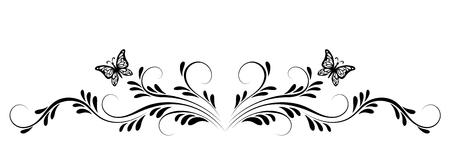 Ornamento floreale vintage con farfalle per biglietto di auguri