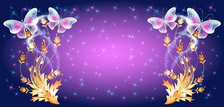 Papillons volants au néon transparent avec ornement doré et étoiles brillantes