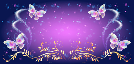 Transparent neon flying butterflies with golden ornament and glowing sparkle stars Vecteurs