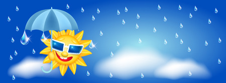 Smiling cartoon sun in glasses with umbrella and rain drops Иллюстрация