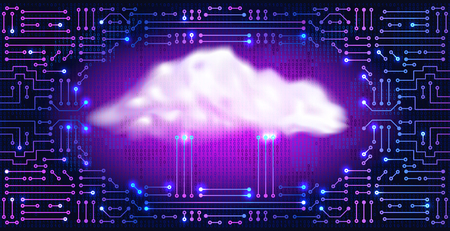 Cloud storage. Abstract ectronic circuit with digital neon cloud and binary code. Data storage concept for electronics system. Ilustração Vetorial