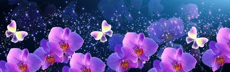Glowing fantasy banner with magic fabulous butterflies with mysterious neon orchids and sparkle stars for flowers storefront design or florist shop decor