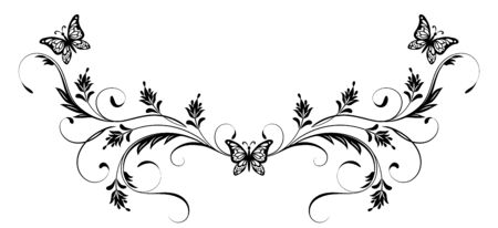 Vintage floral ornament and butterflies for greeting card isolated on white background