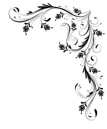 Decorative floral corner ornament for angular stencil isolated on white background Vettoriali