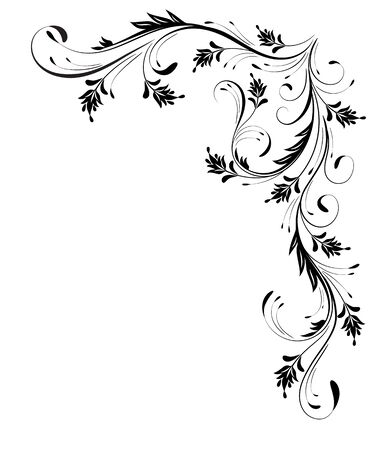 Ornement de coin floral décoratif pour pochoir angulaire isolé sur fond blanc Vecteurs