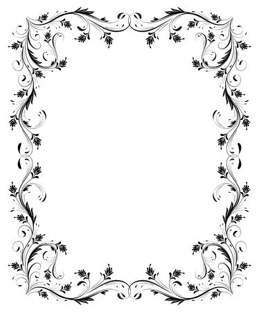 Vintage frame with floral ornament for greeting card isolated on white background  Ilustrace