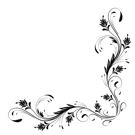 Ornamento de esquina floral decorativo para galería de símbolos angular aislado sobre fondo blanco. Ilustración de vector