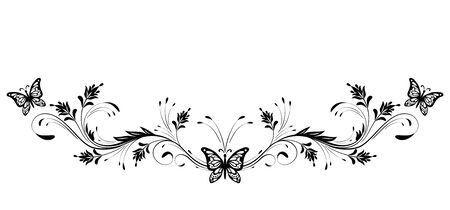 Vintage floral ornament and butterfly for greeting card isolated on white background