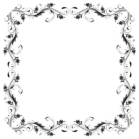 Decorative vintage frame with floral ornament in retro style isolated on white background Illusztráció