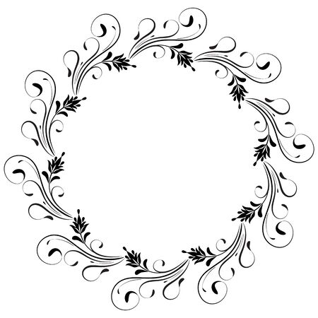 Decorative vintage round frame with floral ornament in retro style isolated on white background