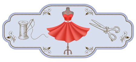 Decorative retro frame for advertising stickers or workshop labels with hand drawn dress, reel of thread, needle, dummy and vintage scissors