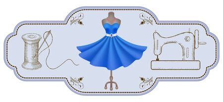 Decorative retro frame for advertising stickers or workshop labels  with hand drawn dress, reel of thread, needle, dummy and vintage sewing machine