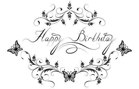 """Adorno floral vintage con mariposa voladora para tarjeta de felicitación con texto """"Feliz cumpleaños"""""""