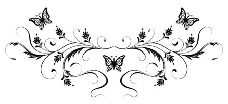 Vintage floral ornament with butterfly for greeting card isolated on white background