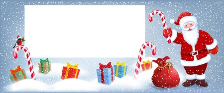 Cartoon Santa Claus  wit sweetmeat candy and gift box anr big Christmas bag near billboard for layout congratulation or letter with list wish to Santa Claus or announcement presentation