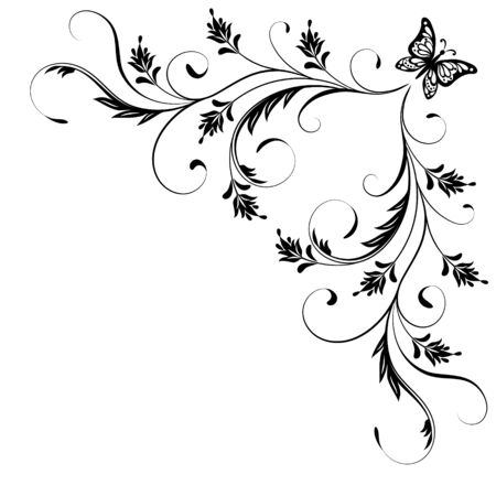 Ornamento de esquina floral decorativo con mariposa para galería de símbolos angular aislado sobre fondo blanco.