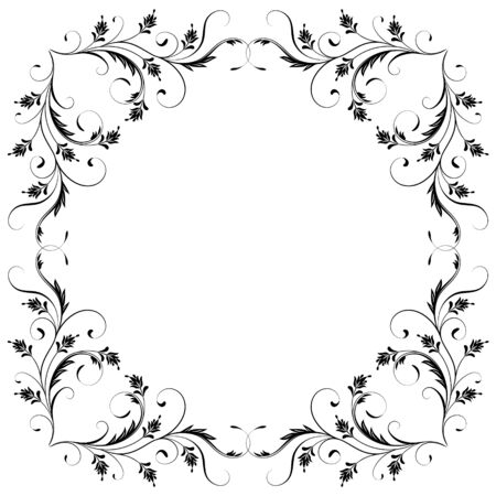 Decorative vintage frame with floral ornament in retro style isolated on white background Ilustrace