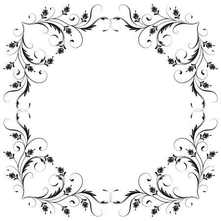 Marco decorativo vintage con adornos florales en estilo retro aislado sobre fondo blanco. Ilustración de vector