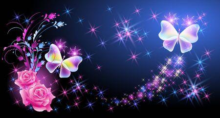 Roze rozen met bloemenornament en vliegende vlinder met fonkeling en laaiend spoor en gloeiende sterren