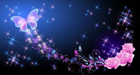 Roses roses avec ornement floral et papillon volant avec étincelle et sentier flamboyant et étoiles brillantes