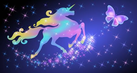 Galloping iridescent unicorn with luxurious winding mane and flying butterfly against the background of the fantasy universe with sparkling stars