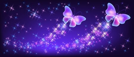 Flying two neon butterflies with sparkle and blazing trail and glowing stars Vecteurs
