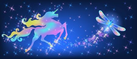 Galloping iridescent unicorn with luxurious winding mane and flying dragonfly against the background of the fantasy universe with sparkling stars
