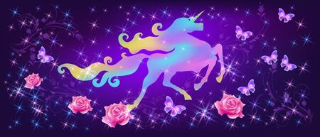 Galloping iridescent unicorn with luxurious winding mane and flying butterflies against the background of the fantasy universe with sparkling stars and pink roses Illustration
