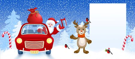 Cartoon deer and Santa Claus in retro car wit gift box anr big Christmas bag rides near billboard for layout congratulation or letter with list wish to Santa Claus or announcement presentation