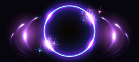 Abstract fantastic background with neon round frame, sparkle stars and space portal into another dimension