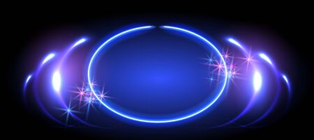 Abstract fantastic background with neon round frame, sparkle stars and space portal into another dimension Vector Illustration