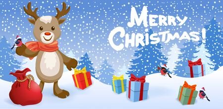 Cartoon funny reindeer deer with bird bullfinch in Santa hat on background of Christmas snowfall in forest and inscription