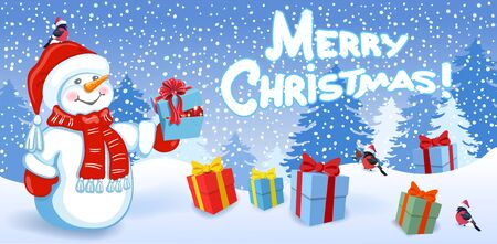 Cartoon funny Snowman with gift box, birds bullfinch in Santa hat on background of Christmas snowfall in forest and inscription