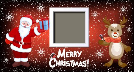 Cartoon Santa Claus with gift box, reindeer deer and white photo frame on background of Christmas snowfall and inscription