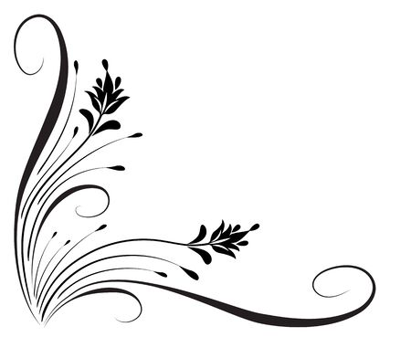 Decorative floral corner ornament for angular stencil isolated on white background Ilustrace