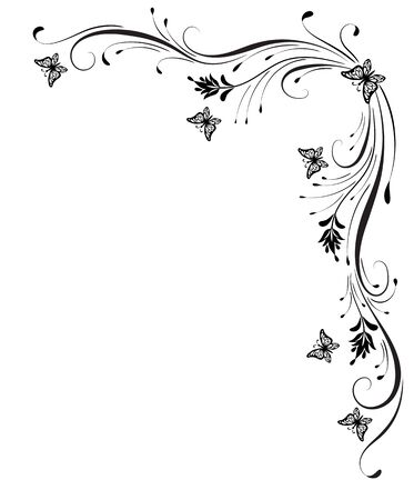 Decorative floral corner ornament with butterflies isolated on white background