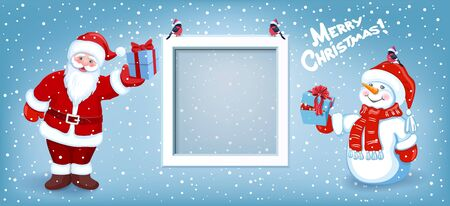 Cartoon Santa Claus with gift box, snowman and photo frame on background of Christmas snowfall and inscription Merry Christmas