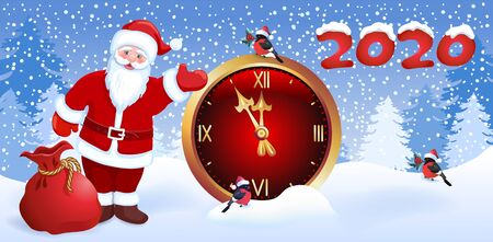 Cartoon Santa Claus with Christmas gift bag and   bullfinch shows his hand on chimes clock and inscription 2020. New Years winter landscape with forest firs.