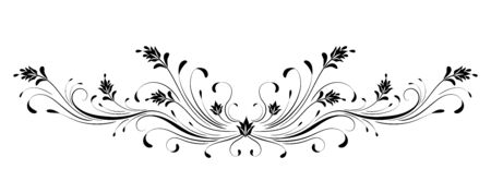 Vintage symmetrical floral ornament for greeting card isolated on white background