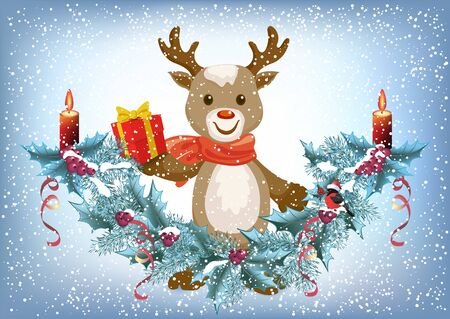 Christmas card with reindeer deer holding gift box and spruce garland with burning candle and bullfinch bird in Santa hat on the snowfall background in retro style Ilustração