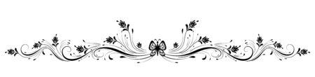 Vintage ornement floral symétrique avec papillon pour carte de voeux isolé sur fond blanc