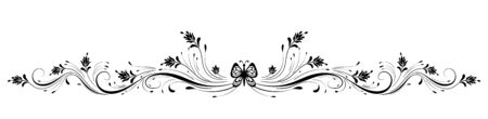 Vintage symmetrical floral ornament with butterfly for greeting card isolated on white background