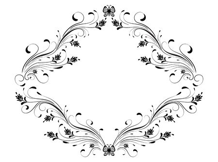 Decorative vintage frame with floral ornament and  butterflies in retro style isolated on white background