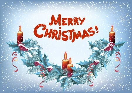 Christmas spruce garland with four burning candles and red inscription Merry Christmas in retro style