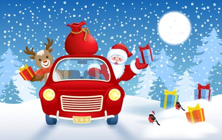 Christmas card with Santa Claus and fawn deer in red vintage car with gift box against winter forest background. New Year design postcard in retro style. Illustration