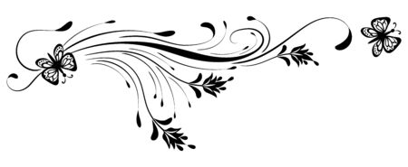 Black decorative floral ornament with butterfly isolated on white background